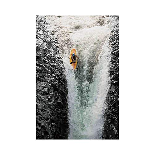 Polyester Garden Flag Outdoor Flag House Flag Banner,Waterfall,Photo of Man Kayaking in Canoe Flowing Wild Water Nature Extreme Outdoors Art Print Decorative,Multi,for Wedding Anniversary Home Outdoor
