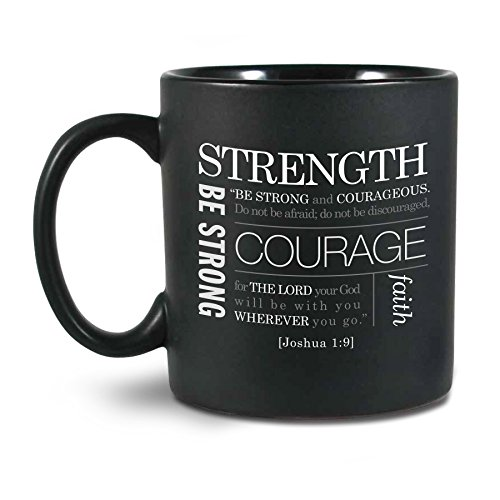Lighthouse Christian Products Strength Ceramic Mug, Black