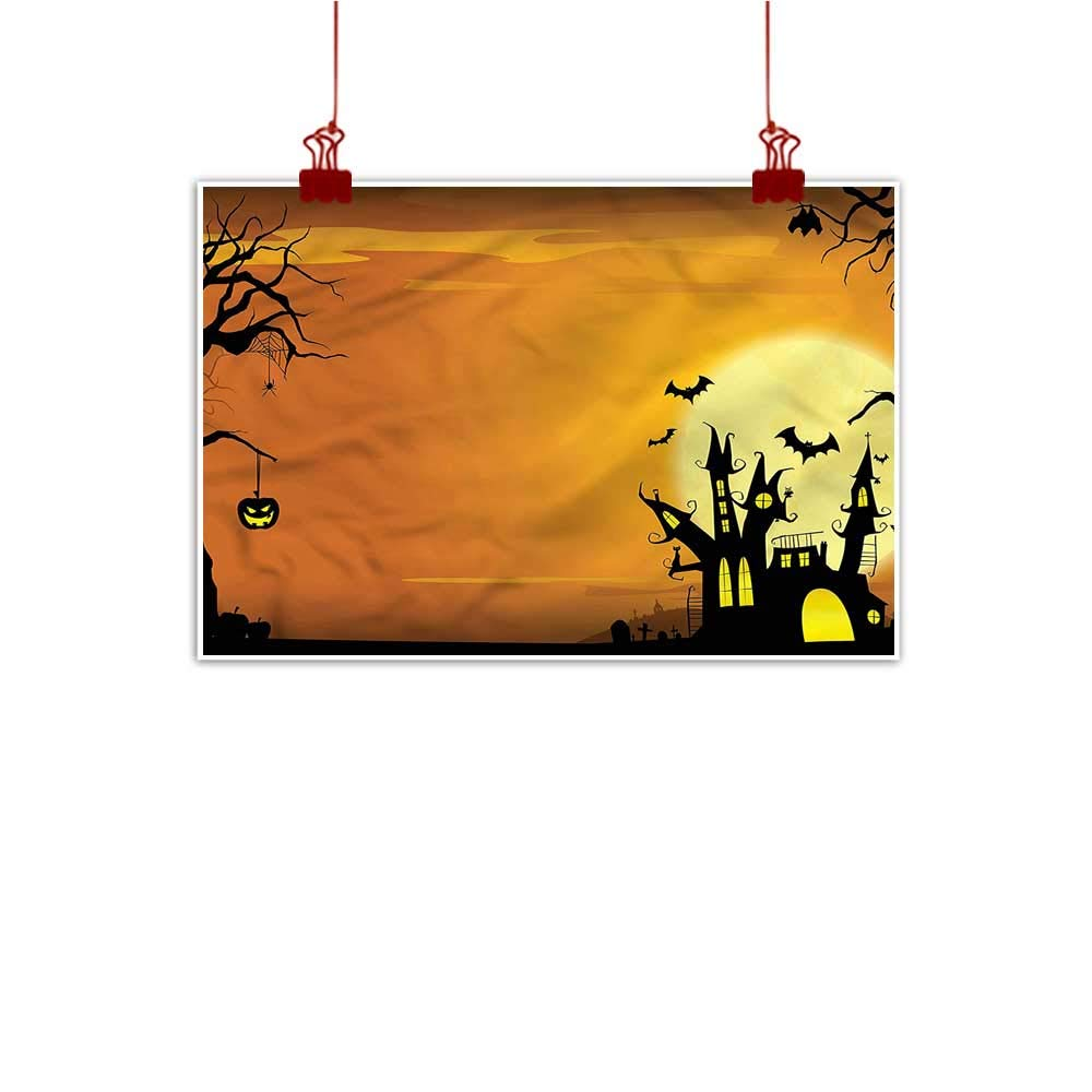 color15 48 x32  (120cm x 80cm) Mangooly Canvas Prints Wall Decor Art Halloween,Gothic Haunted House for Bedroom Office Homes Decorations