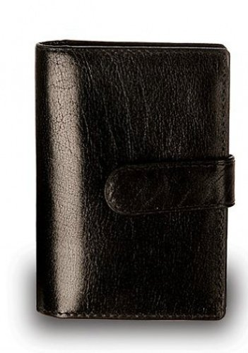 - Visconti 484 Milano Mens ID Card Holder Leather Shiny Wallet with Removable Plastic Inserts Gift Boxed (Black)