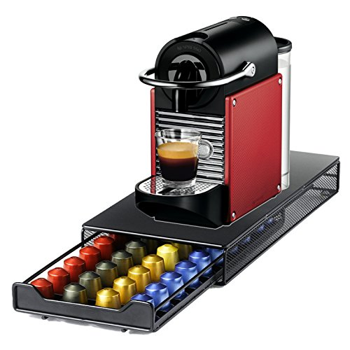 Nespresso Pixie D60 Dark Red Espresso Machine with Bonus 40 Capsule Storage Drawer