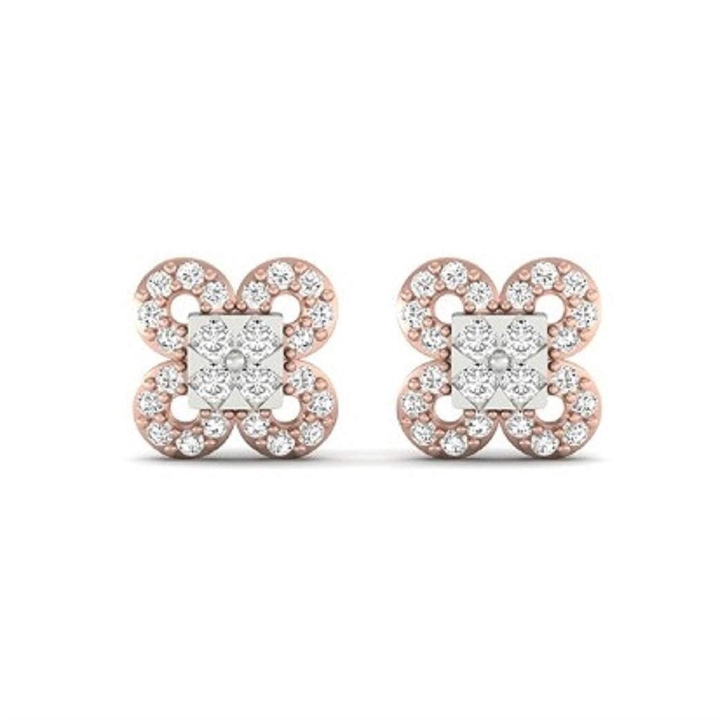 14k Multi-Tone Gol 1//2TCW Real Round Diamond Stud Earring Chandra Diamond Jewelry E0544