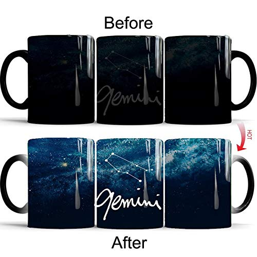 Heat Sensitive Constellation Revealing Ceramic Coffee Mug - Best Novelty Birthday Gift For Him, Her, Mom, Dad Husband or Wife - Ceramic Marble Cups 12 oz