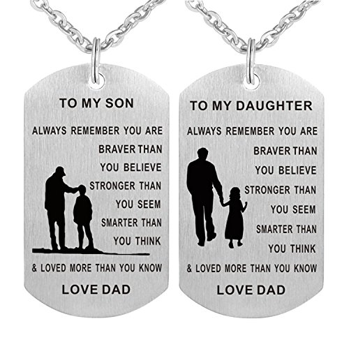 Burning Love Inspirational Pendant Necklace Stainless Steel Dog tag Always Remember You are Braver to My Son/Daughter BLMDP5