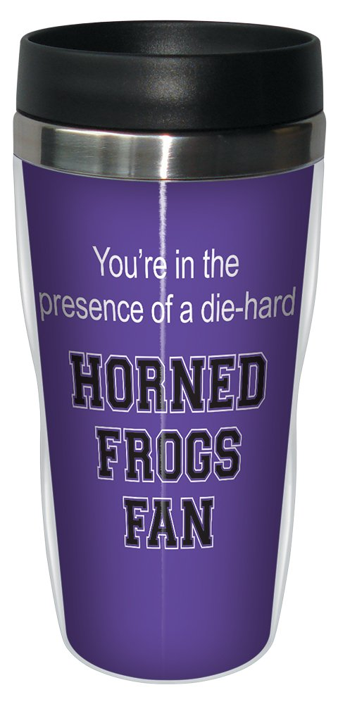 Tree-Free Greetings sg24570 Horned Frogs College Football Fan Sip 'N Go Stainless Steel Lined Travel Tumbler, 16-Ounce