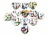 Decorative Compact Folding Cosmetic Pocket Travel Makeup Mirrors for Women and Girls Party Favors (12 pack) (Paris Theme (Heart))