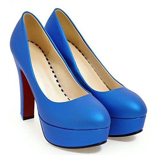 Basse Fermeture Femme Enfiler Escarpins À Easemax Bleu Elégant Plateforme ZTqvY