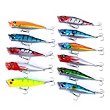 Aorace 11pcs Fishing Lures Kit Mixed Poppers With Hooks For Saltwater Freshwater Trout Bass Salmon Fishing Review