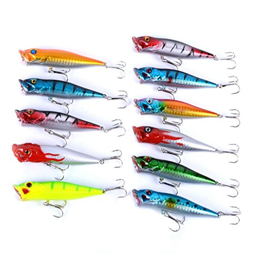 Aorace 11pcs Fishing Lures Kit Mixed Poppers With Hooks For Saltwater Freshwater Trout Bass Salmon Fishing