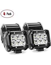 Nilight NI06A-18W - LED  luz de niebla, barra de luces, lámpara soporte de montaje para SUV Barco 10,2 cm Jeep, 4 piezas