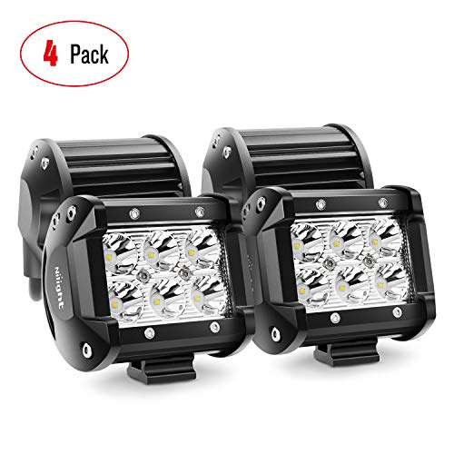 LED Light Bar Nilight 4PCS 18W 1260lm Spot led pods Driving Fog Light Off Road Lights Bar Jeep Lamp,2 years Warranty (2011 Ram 3500 Driving Lights)
