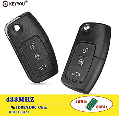 Remote Key Fob 433MHz Transponder Chip For Ford Focus Mondeo 1X 3 Buttons