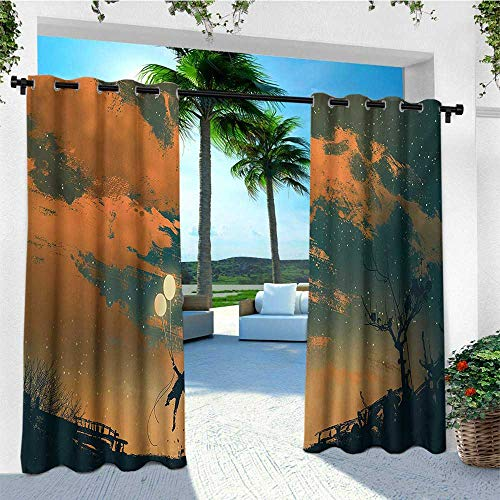 Fantasy, Outdoor Curtain Set of 2 Panels, Flying Man with Balloons in Sky Starry Night Freedom Fun Theme Illustration, for Patio Waterproof W120 x L96 Inch Orange Ash Gray
