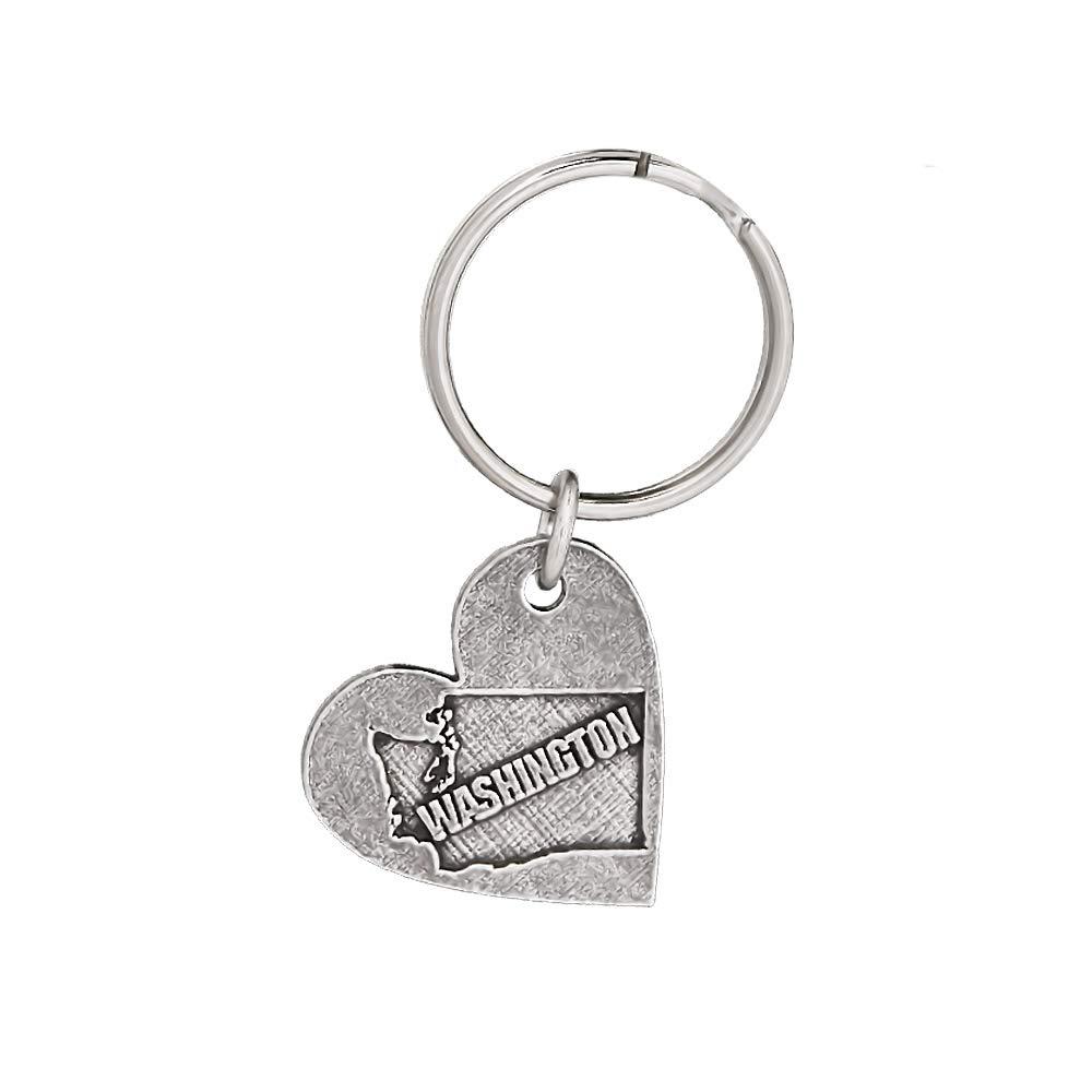 Heart Shape Washington Pewter Keychain A1016KC