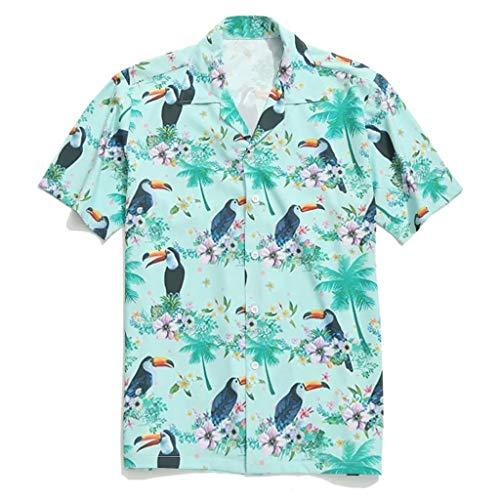 GDJGTA T-Shirt for Mens Hawaiian Shirt Summer Lapel Bird Leaf Print Short Sleeve Top Blouse Green