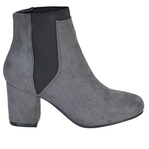 ESSEX GLAM New Womens Low Mid Block Heel Chelsea Ladies Elastic Pull On Fashion Biker Riding Ankle Boots Grey Faux Suede