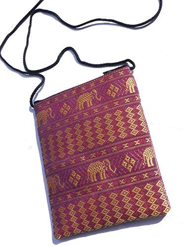 Cotone Elefante passaporto borsa a spalla–Viola con 2tasche