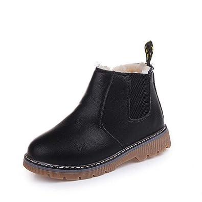 2dbe77eff5206 Bottines Bottes de Neige Courtes Enfants Bébé d hiver Chaussures Doublure  Chaude Chaussures de Chelsea