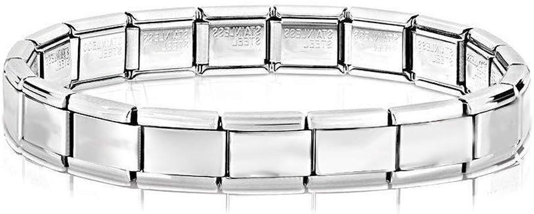 Edelstahl Schmuck Silber Modern AKKi jewelry Italian Charms Armband mit Schmeterling Links Glieder Set Kult modele f/ür Frauen Italy Charm