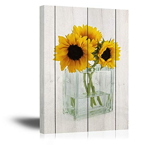 Blooming sunflowers wall art for children room yellow flowers canvas prints artwork with wood frame botanical florals in transparency bottle with bright wood grain background painting 12 x 16 inches