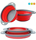 "Colander Set - 2 Collapsible Colanders (Strainers) Set By Comfify - Includes 2 Folding Strainers Sizes 8"" - 2 Quart and 9.5"" - 3 Quart Red and Grey"