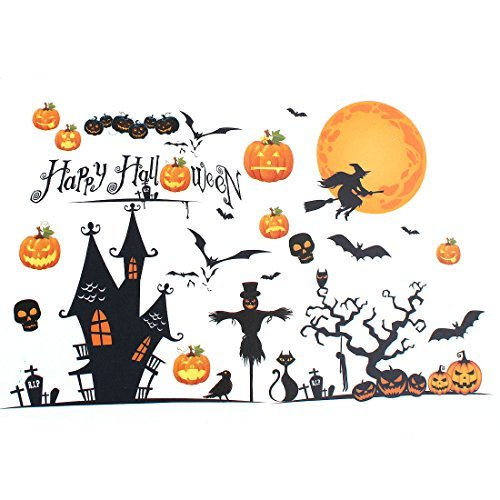 eDealMax Wallpaper PVC Della Zucca di Halloween Strega Luna Bat Design Wall Sticker FAI da -
