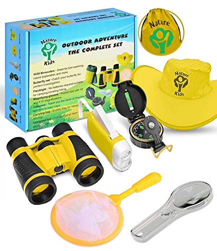 Cool Outside Toys (Adventure Kids - Outdoor Explorer Kit, Children Binoculars, Flashlight, Compass, Magnifying Glass, Butterfly Net & Backpack. Great Toys Kids Gift for Boys & Girls Age 3-12 Year Old Camping)