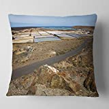 Designart CU10727-18-18 Salt in Lanzarote Spain Musk Pond' Seashore Throw Cushion Pillow Cover for Living Room, Sofa, 18 in. x 18 in.