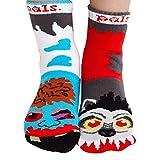 monster feet socks - Kids Werewolf and Zombie Monster Nonskid Socks - Mismatched Unlikely Friends