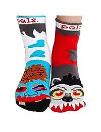 Kids Werewolf & Zombie Socks - Mismatched Unlikely Friends!