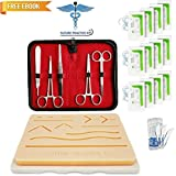 Suture Practice Kit w Suturing Guide E-Book, 3rd Generation Pad, Tools Suture Needles by Medical Professionals. for Residents Medical Dental Veterinary School Students, Knot Tying Surgical Techniques