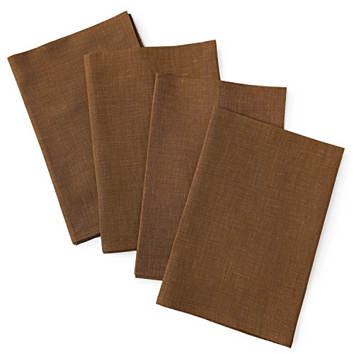 Solino Home Linen Dinner Napkins - 20 x 20 Inch Brown, 4 Pack Linen Napkins, Athena - 100% European Flax, Soft & Handcrafted with Mitered Corners