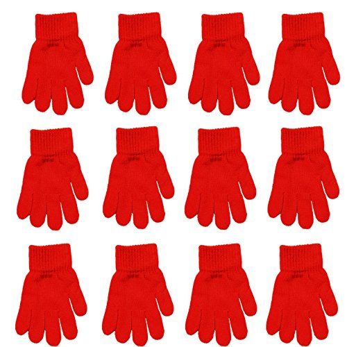 Children Warm Magic Gloves 12 Pairs Teens Winter Gloves Boys Girls Knit Gloves(7 to 16 years old) (Red)