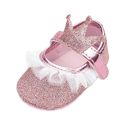 AliveGOT Baby Girls Shoes Newborn Bling Mary Jane Baby Dress Shoes Princess Moccasins Lace Crib Shoes (Pink, 3.5)