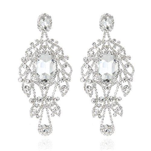Women's Glamorous Austrian Crystal Chandelier Long Earrings in Silver ()