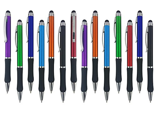 Stylus Pens - 2 in 1 Touch Screen & Writing Pen, Sensitive Stylus Tip - For Your iPad, iPhone, Kindle, Nook, Samsung Galaxy & More - Assorted Colors, 14 Pack