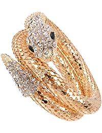Vintage Retro Punk Crystal Chunky Curved Stretch Snake Bracelet Gold For Nightclub Party
