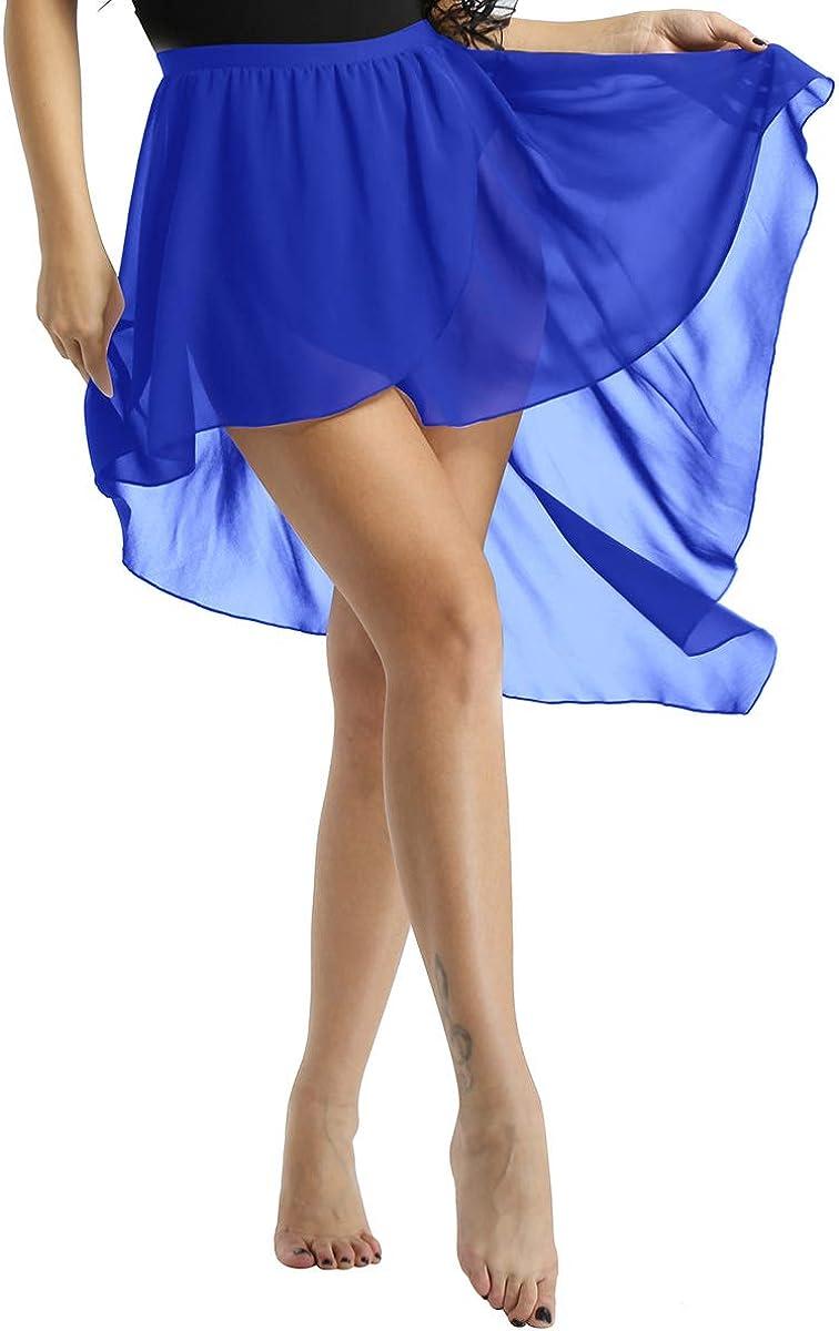 TiaoBug Falda Tul Mujer de Danza Ballet Falda Larga Irregular Cintura El/ástica para Baile Gimnasia Ropa Danza Contempor/ánea Vientre Sevillanas Ni/ñas Mujeres