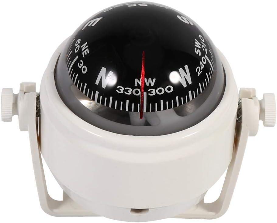 White Magnetic Declination Compass,Multi-Purpose Adjustable Voyager Bracket Mount Compass Sea Marine Bracket Mount Compass Voyager Outside Fits Boat Caravan Truck