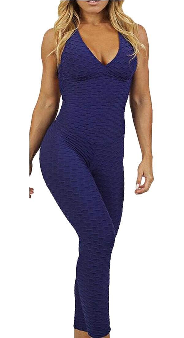 GAGA Womens Butt Lift Yoga Sleeveless Backless Sport Bandage Romper Playsuit