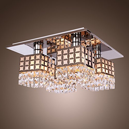 Unimall Modern Flush Mount Crystal Ceiling Chandelier Light Fixture Modern  Stainless Steel Living Room Bedroom Hallway Chandelier With 4 Square Lights:  ...