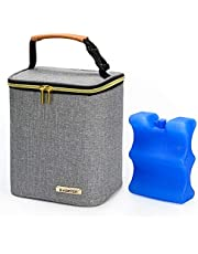 BABEYER Insulated Breastmilk Cooler Bag and Baby Bottle Bag with Ice Pack Included, Fits 4 Large Baby Bottles Up to 9 Ounce for Nursing Mother-Grey