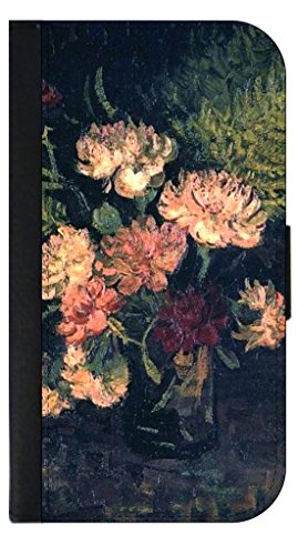 Vincent Van Gogh's Vase with Carnations- Wallet Case for the APPLE IPHONE 5 ONLY!!!!!-PU Leather and Suede Wallet Iphone Case with Flip Cover that Closes with a Magnetic Clasp and 3 Inner Pockets for Storage
