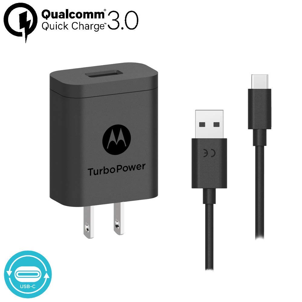 Motorola Essentials USB-C Turbo Charge Bundle: TurboPower 18 USB C Car Charger + TurboPower 18 Charger + 2 Type C 3.3ft Cables for Moto Z, Z2, Z3, Z4, ...