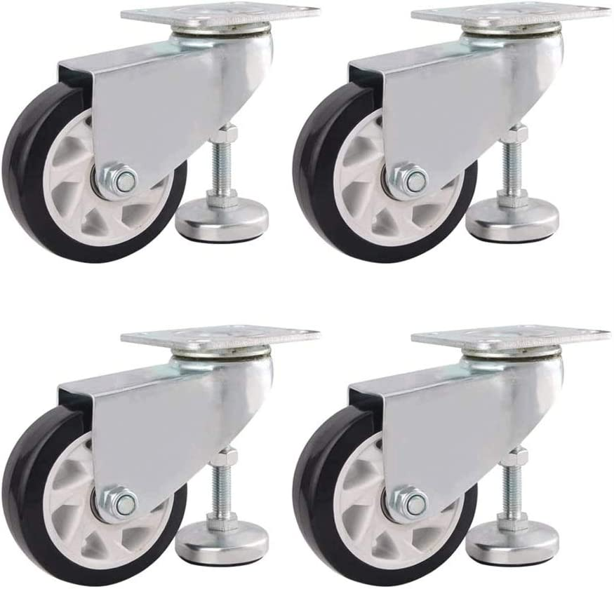 4 Gris ruedas giratorias for los muebles (Ajustar la rueda de apoyo), Compuesto Compuesto Caster con el pie de apoyo Copa (Size : 2in)