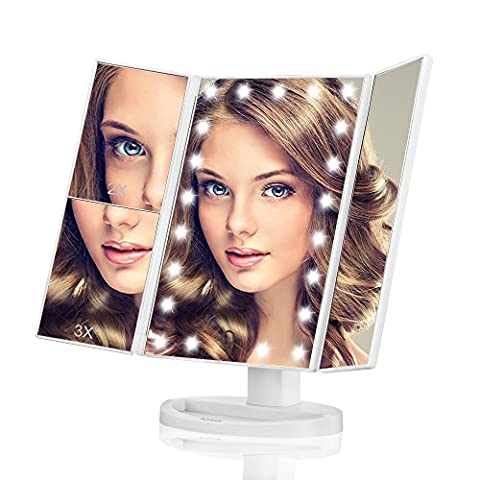 Makeup Mirror, Butyface Vanity Mirror with Lights, Touch Screen 21 LED Lighted Makeup Mirror with 1X/2X/3X and Removable 10X (In Door Bike Stand)