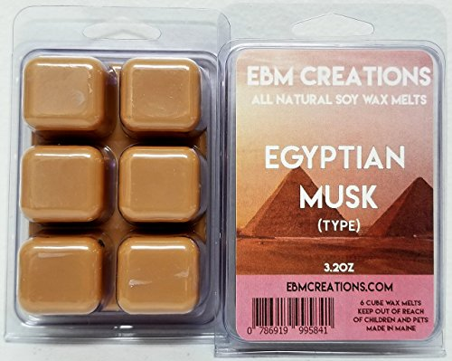 Musk Type - Egyptian Musk (Type) - Scented All Natural Soy Wax Melts - 6 Cube Clamshell 3.2oz Highly Scented!