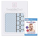 Cheap SwaddleDesigns SwaddleDuo, Set of 2 Swaddling Blankets + The Happiest Baby DVD Bundle, Pastel Blue Modern Duo