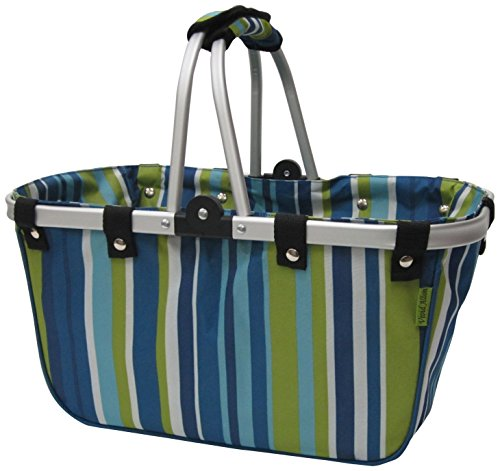 JanetBasket Blue Stripes Large Aluminum Frame Basket ()
