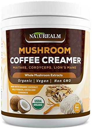 Naturealm Mushroom Coffee Creamer - Lion's Mane, Cordyceps, Maitake Extracts + Coconut Milk Powder, Cocoa, Cinnamon - USDA Certified Organic, Vegan, Sugar-Free, Gluten-Free, Keto-Friendly, 8oz.